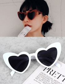 Fashion White Heart Shape Decorated Simple Sunglasses