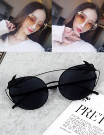 Fashion Black Swallows Decorated Oval Shape Sunglasses