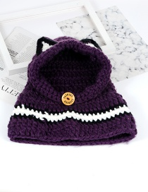 Cute Purple Cat Ear Shape Decorated Hat