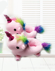 Fashion Pink Unicorn Shape Decorated Slippers