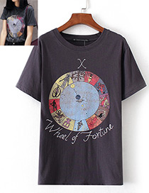 Fashion Dark Gray Round Pattern Decorated T-shirt