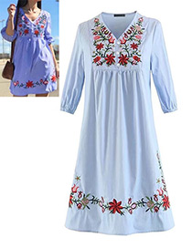 Bohemia Light Blue Embroidery Flowers Shape Decorated Dress