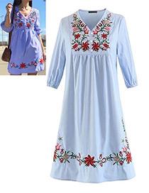 Bohemia Light Blue Embroidery Flowers Shape Decorated Dress