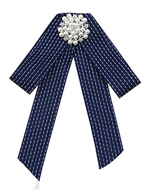 Fashion Navy Stripe Shape Decorated Bowknot Brooch