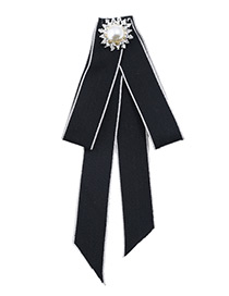 Fashion Black Round Shape Decorated Bowknot Brooch