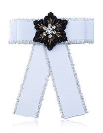 Fashion White Flower Shape Decorated Bowknot Brooch