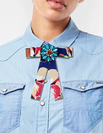 Fashion Navy Geometric Shape Decorated Bowknot Brooch