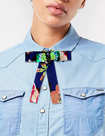 Fashion Navy Bee Shape Decorated Bowknot Brooch