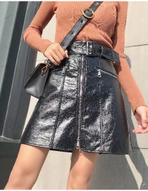 Fashion Black Pure Color Decorated Skirt