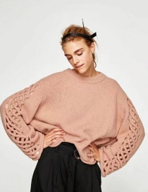 Fashion Pink Hollow-out Shape Decorated Sweater