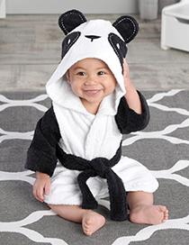 Lovely White Panda Shape Decorated Children Bathrobe
