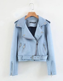 Fashion Blue Pure Color Decorated Jacket