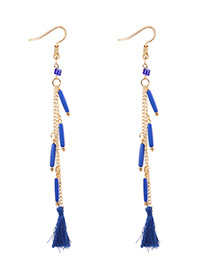 Vintage Blue Tassel Decorated Long Earrings