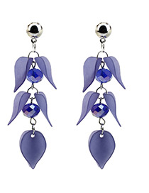 Elegant Blue Petal Shape Decorated Earrings