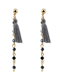 Bohemia Gray Tassel Decorated Long Earrings