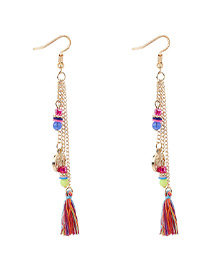 Bohemia Multi-color Coin Shape Decorated Tassel Earrings