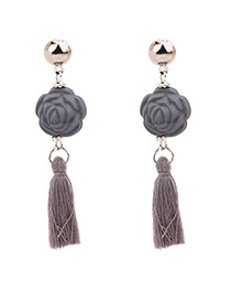 Vintage Gray Flower&tassel Decorated Simple Earrings