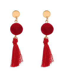 Personalized Red Fuzzy Ball Decorated Pom Earrings