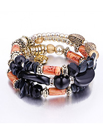 Vintage Black Beads Decorated Multi-layer Bracelet