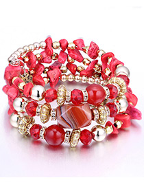 Vintage Red Beads Decorated Multi-layer Bracelet