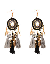 Bohemia Gray Round Shape Decorated Tassel Earrings