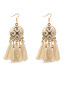 Bohemia Beige Disc Shape Decorated Tassel Earrings