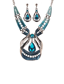 Elegant Blue Waterdrop Shape Decorated Jewelry Sets