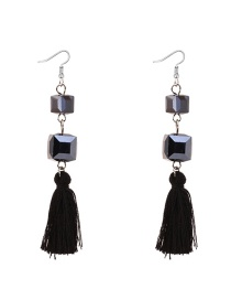 Elegant Black Diamond Decorated Tassel Earrings