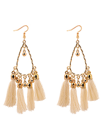 Fashion Beige Balls Decorated Tassel Earrings