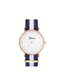 Elegant White Stripe Pattern Strap Design Watch