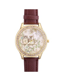 Fashion Brown Owla&trees Pattern Decorated Watch