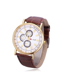 Fashion Brown Round Shape Dial Design Width Strap Watch