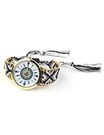 Trendy Black Tree Pattern Decorated Hand-woven Design Watch