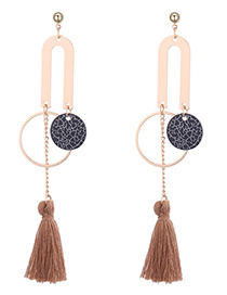 Personality Brown Round Shape Decorated Long Tassel Earrings