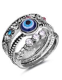 Fashion Silver Color Eye Shape Pattern Design Ring Sets (3pcs)