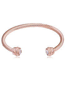 Personality Rose Gold Screw Thread Design Pure Color Bracelet