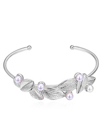 Sweet Silver Color Leaf&pearls Decorated Opening Bracelet
