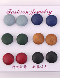 Multi-color Round Shape Design Color Mathcing Earrings(6pcs)