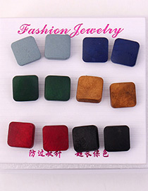 Elegant Multi-color Square Shape Design Color Mathcing Earrings(6pcs)