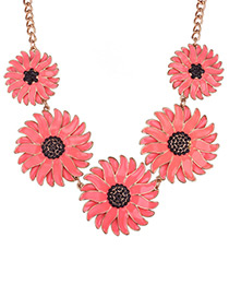 Fashion Red Daisy Shape Decorated Pure Color Necklace