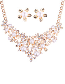 Fashion Gold Color Pearls&diamond Decorated Hollow Out Jewelry Sets
