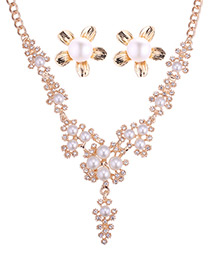 Fashion Rose Gold Pearls&diamond Decorated Jewelry Sets