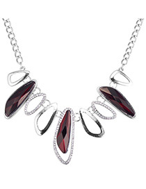 Elegant Dark Red Geometric Shape Design Simple Necklace