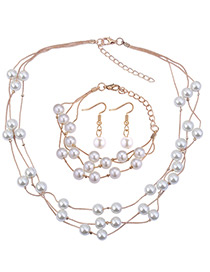 Fashion Champagne Pearls Decorated Multi-layer Jewelry Sets