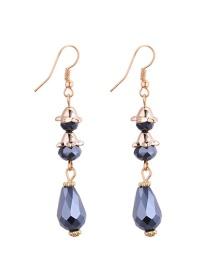 Fashion Navy Water Drop Shape Diamond Decorared Earrings