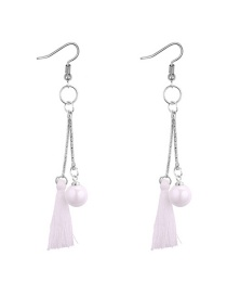 Fashion White Tassel&pearls Decorated Long Earrings