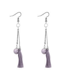 Fashion Gray Tassel&pearls Decorated Long Earrings