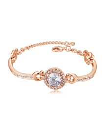 Elegant Rose Gold Round Shape Decorated Bracelet