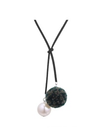 Fashion Dark Green Fuzzy Ball Decorated Pom Necklace