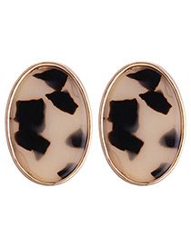 Fashion Beige+black Oval Shape Decorated Earrings